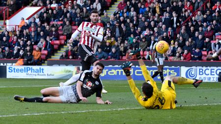 Gary Madine: The Sheffield United forward scores against Reading