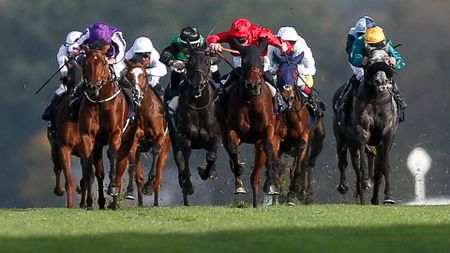 Hydrangea (l, purple) wins the QIPCO British Champions Fillie & Mares Stakes