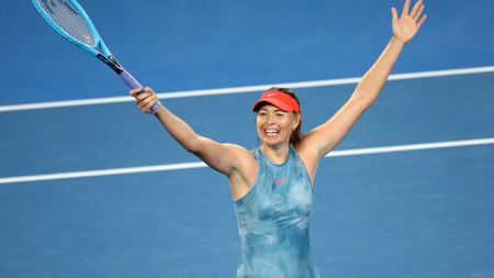Maria Sharapova celebrates at the Australian Open