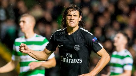 Edinson Cavani celebrates after scoring against Celtic
