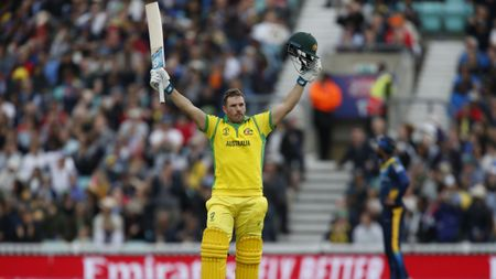 Aaron Finch celebrates his century in Australia's Cricket World Cup win over Sri Lanka