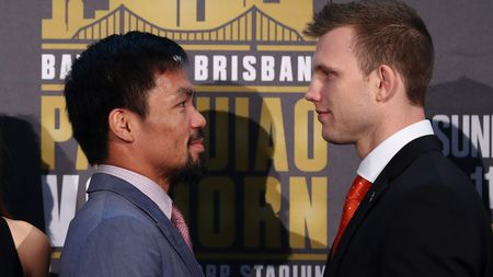 Manny Pacquiao (l) and Jeff Horn