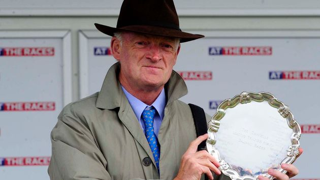 Willie Mullins pictured with the leading trainer's award at Galway