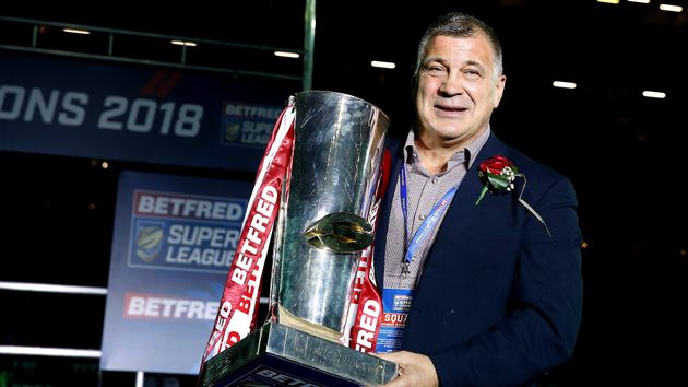 Shaun Wane with the Super League trophy after Wigan won the 2018 Grand Final