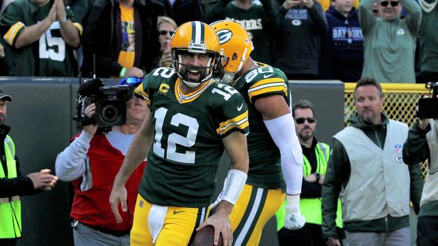 Green Bay Packers quarterback Aaron Rodgers celebrates
