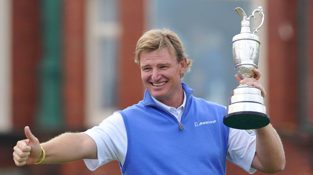Ernie Els celebrates victory in 2012
