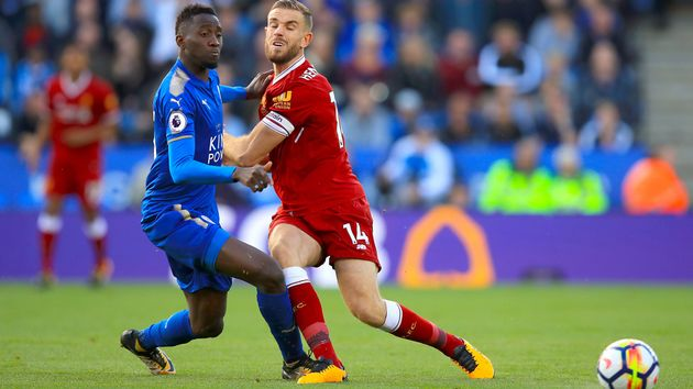 Wilfred Ndidi and Jordan Henderson tangle