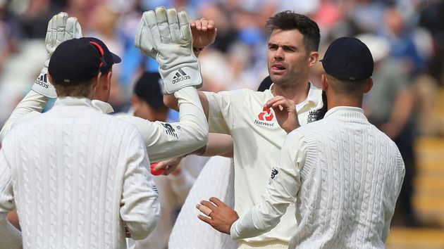 James Anderson celebrates for England