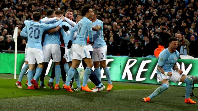 Manchester City players celebrate at Wembley