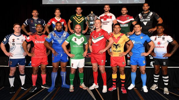 The 2017 Rugby League World Cup captains face the camera