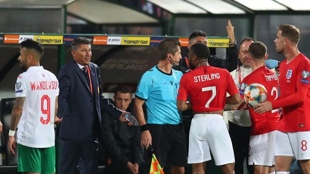 Krasimir Balakov and Raheem Sterling exchange words