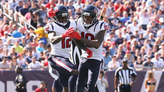 Bruce Ellington #12 of the Houston Texans reacts with DeAndre Hopkins #10 after catching a touchdown pass