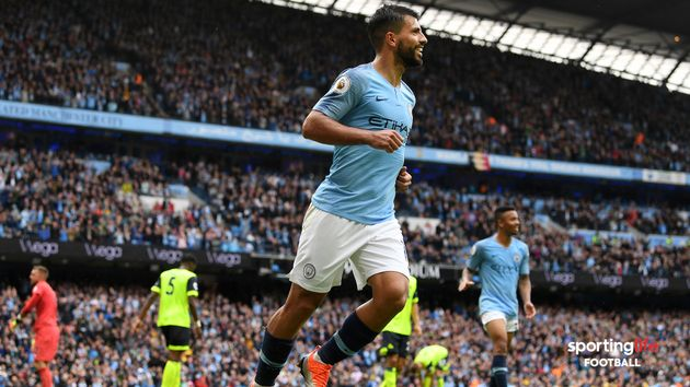 Sergio Aguero celebrates his hat-trick goal against Huddersfield Town