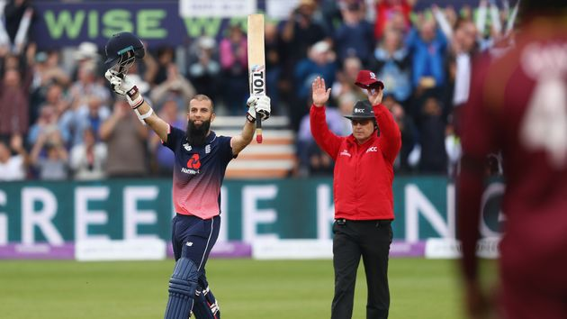 Moeen Ali celebrates a superb century for England