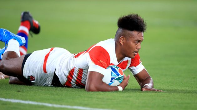 Japan's Kotaro Matsushima scores his side's second try