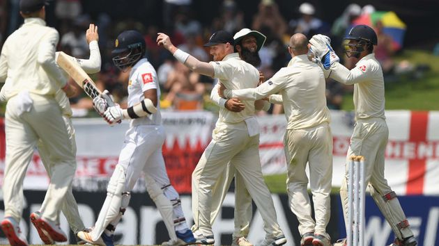 Ben Stokes and England celebrate a wicket in Sri Lanka