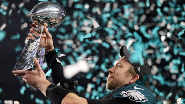 Nick Foles of the Philadelphia Eagles with the Vince Lombardi Trophy
