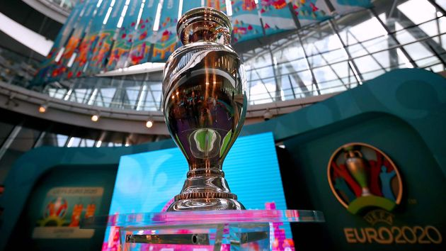 The European Championship trophy being played for at Euro 2020