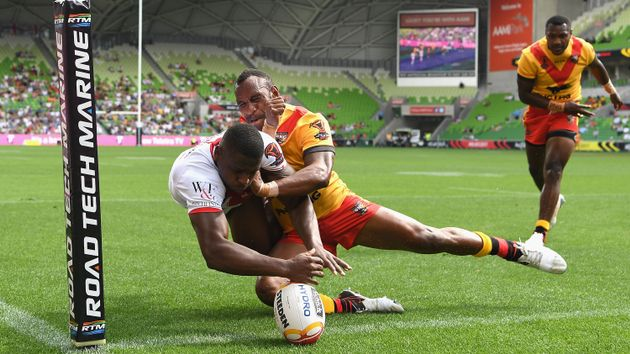 Jermaine McGillvary scores an England try
