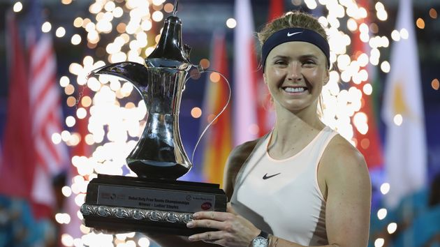 Elina Svitolina with the Dubai Duty Free Tennis Championships trophy