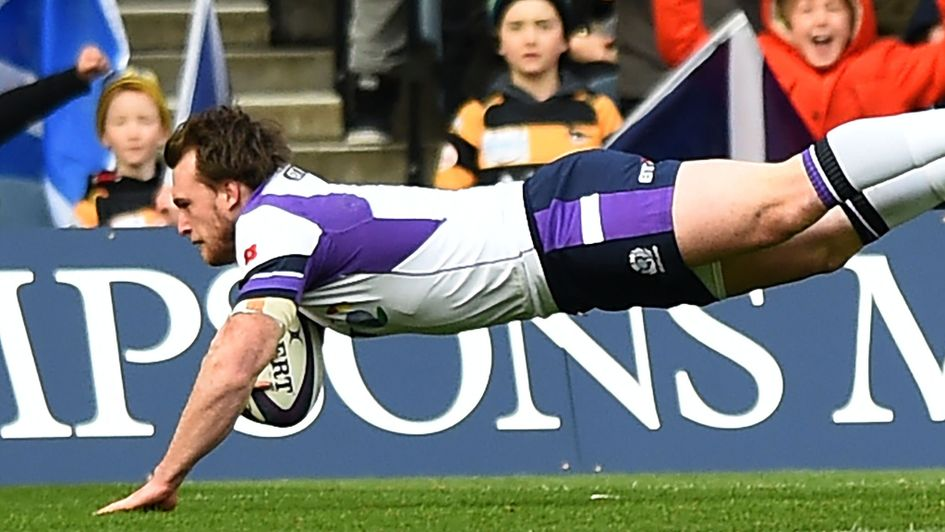 Stuart Hogg scores a try for Scotland