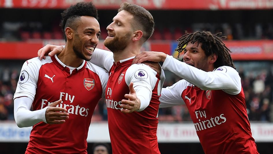 Shkodran Mustafi and Arsenal celebrate