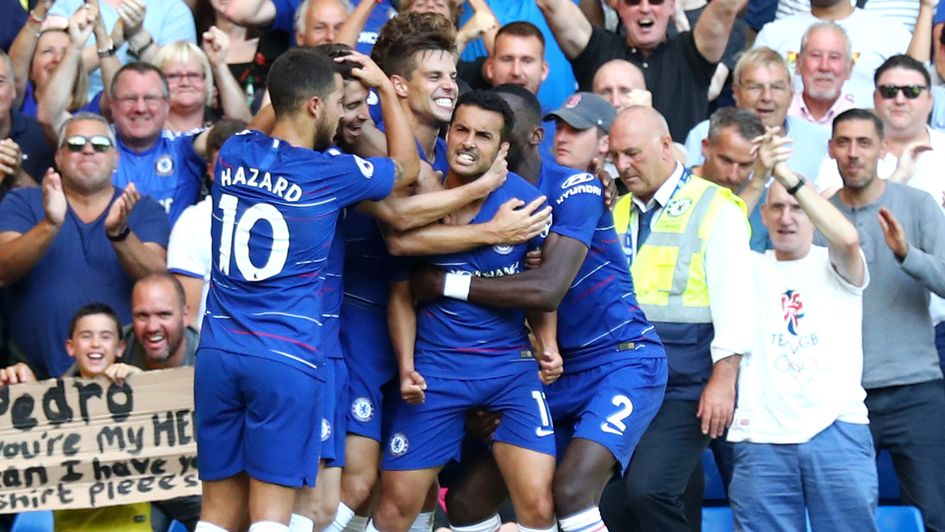 Pedro celebrates after scoring for Chelsea