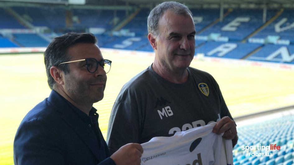 Leeds United owner Andrea Radrizzani (left) with new head coach Marcelo Bielsa