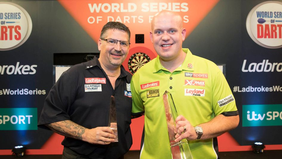 Michael van Gerwen and Gary Anderson (Picture: Steve Welsh/PDC)