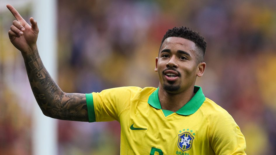 Gabriel Jesus in action for Brazil