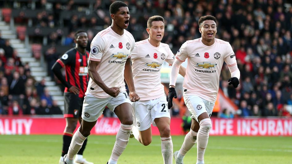 Marcus Rashford celebrates Manchester United's late winner at Bournemouth