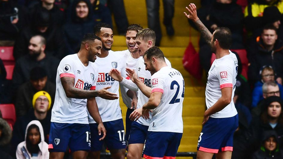 Callum Wilson and Bournemouth celebrate a goal at Watford