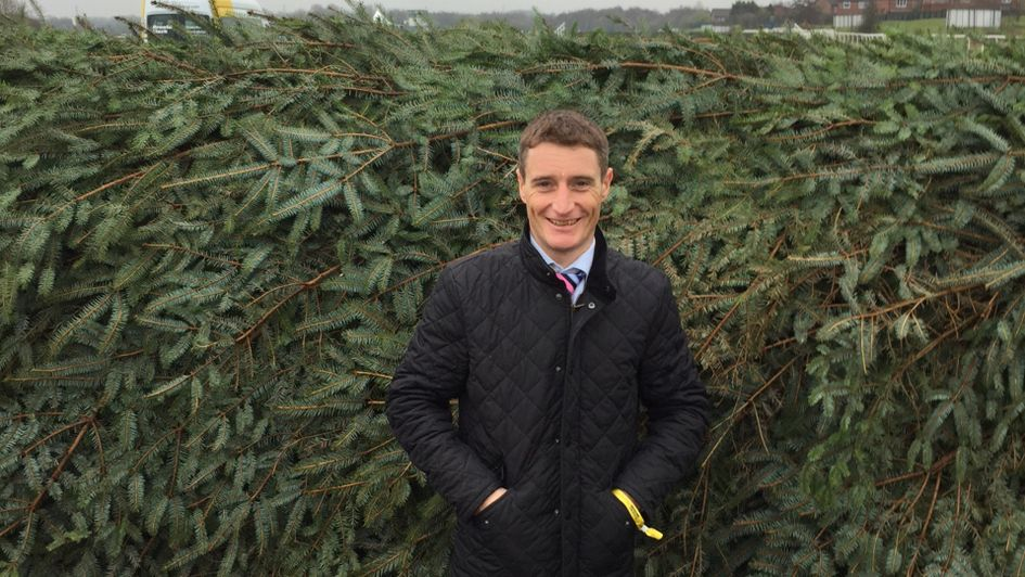 Dary Jacob stands in front of the birch at Aintree