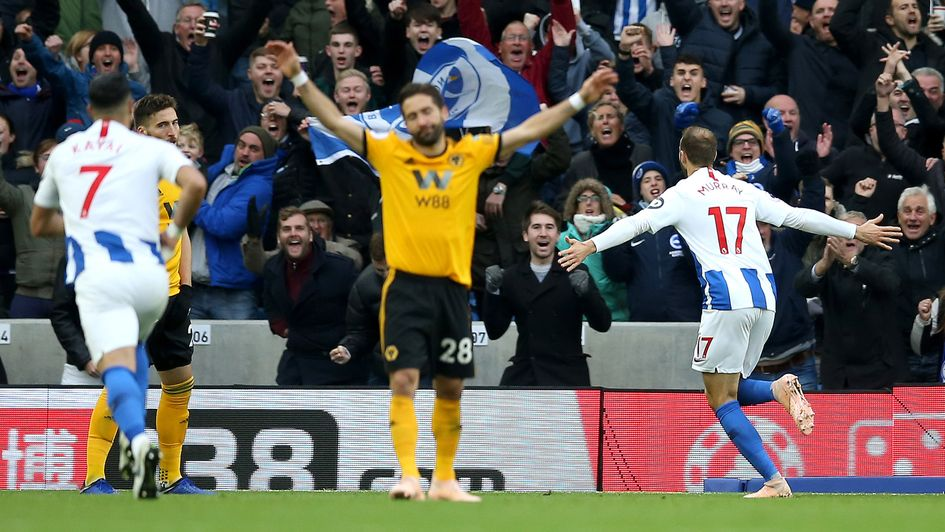 Glenn Murray celebrates his goal v Wolves