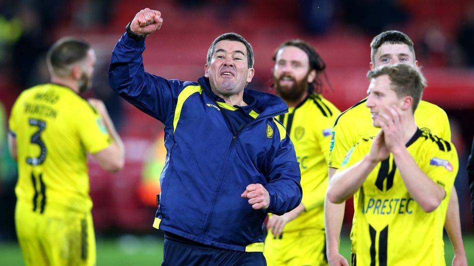 Nigel Clough celebrates after victory over Middlesbrough