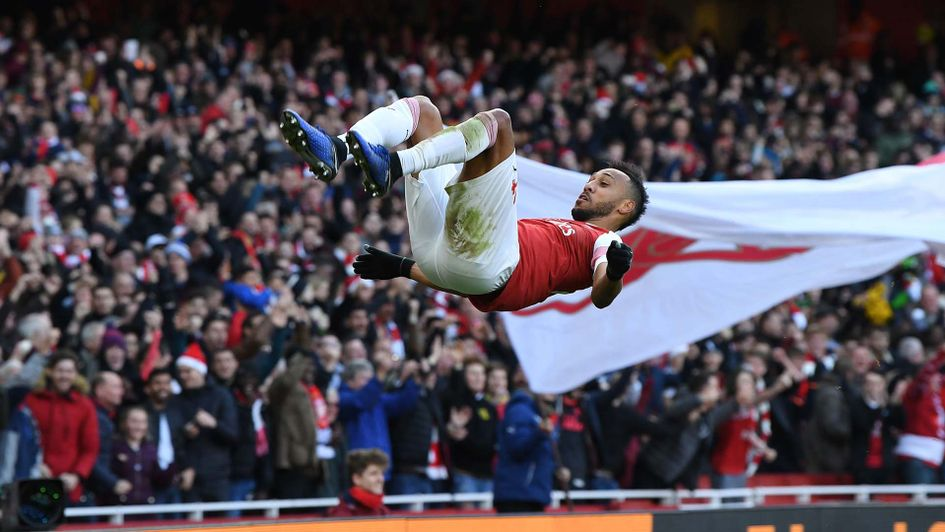 Pierre-Emerick Aubameyang celebrates a goal for Arsenal