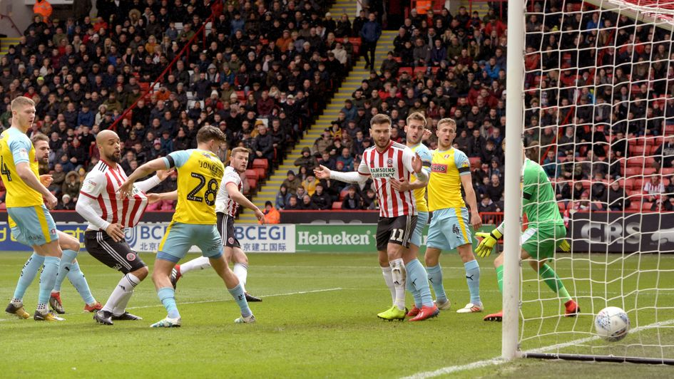 Sheffield United's Jack O'Connell scores against Rotherham