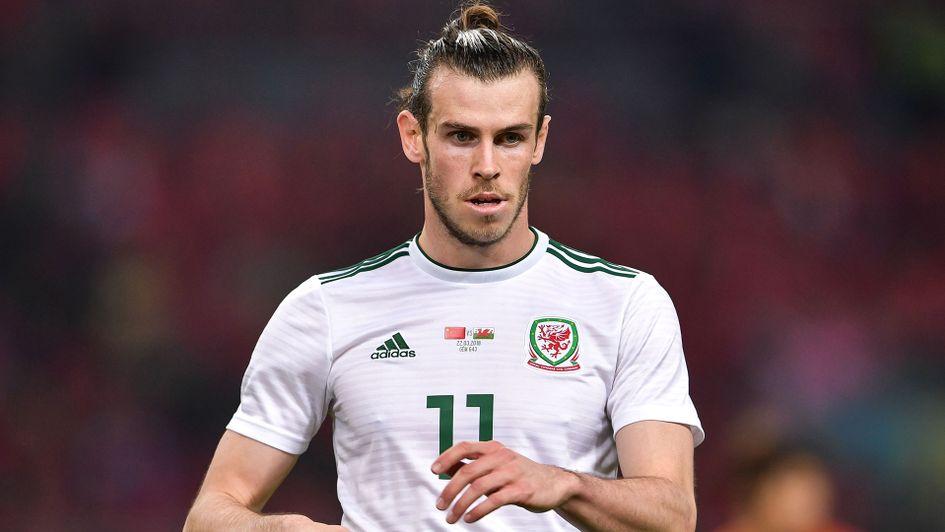 Gareth Bale, in Aktion für Wales dargestellt