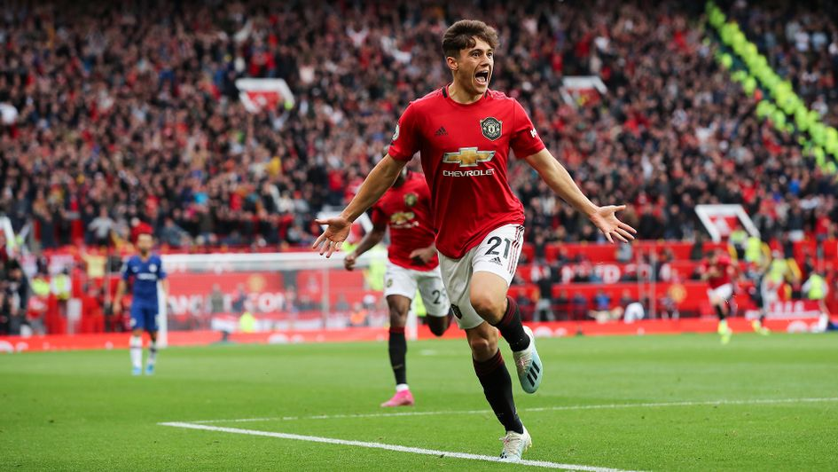 Daniel James celebrates his first goal for Manchester United