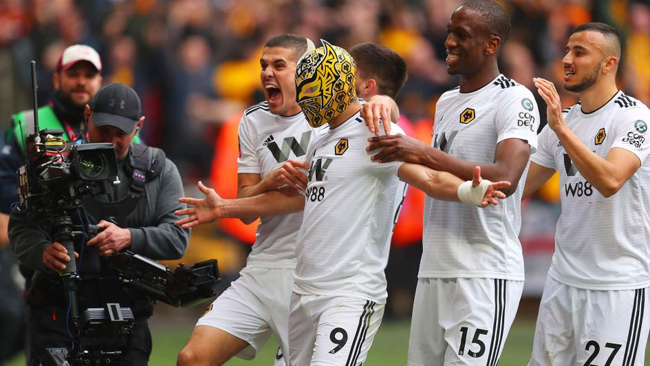Raul Jimenez celebrates scoring for Wolves at Wembley