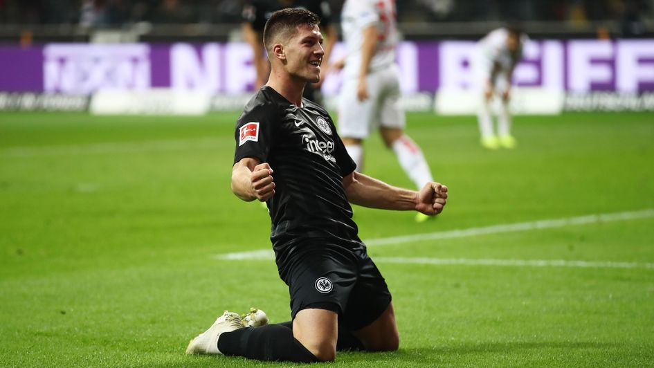 Luka Jovic celebrates his fifth goal of the game against Dusseldorf