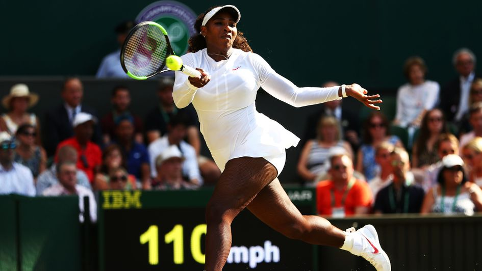 Serena Williams in action against Kristina Mladenovic