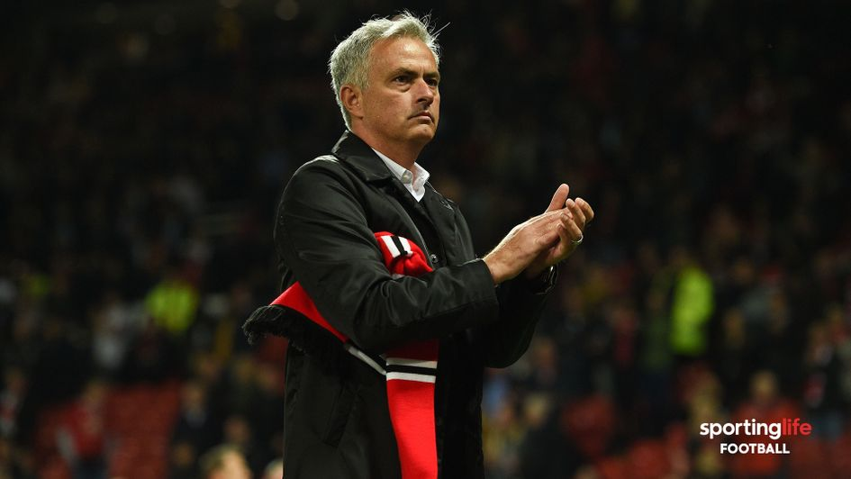 Jose Mourinho applauds the Manchester United fans after a 3-0 defeat to Tottenham