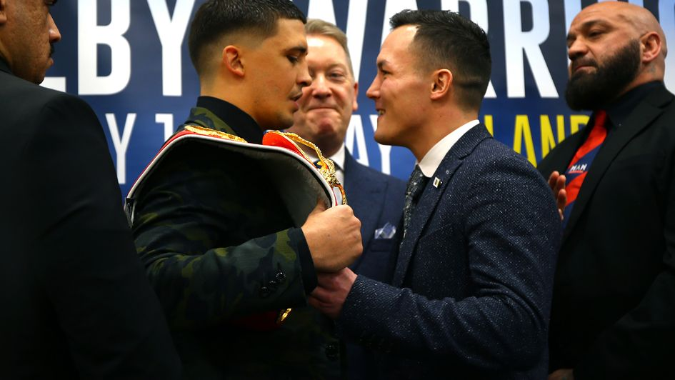Lee Selby and Josh Warrington face the press - and each other - at Elland Road