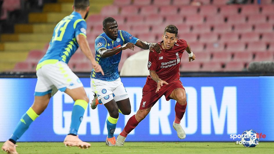 Kalidou Koulibaly and Roberto Firmino battle for possession