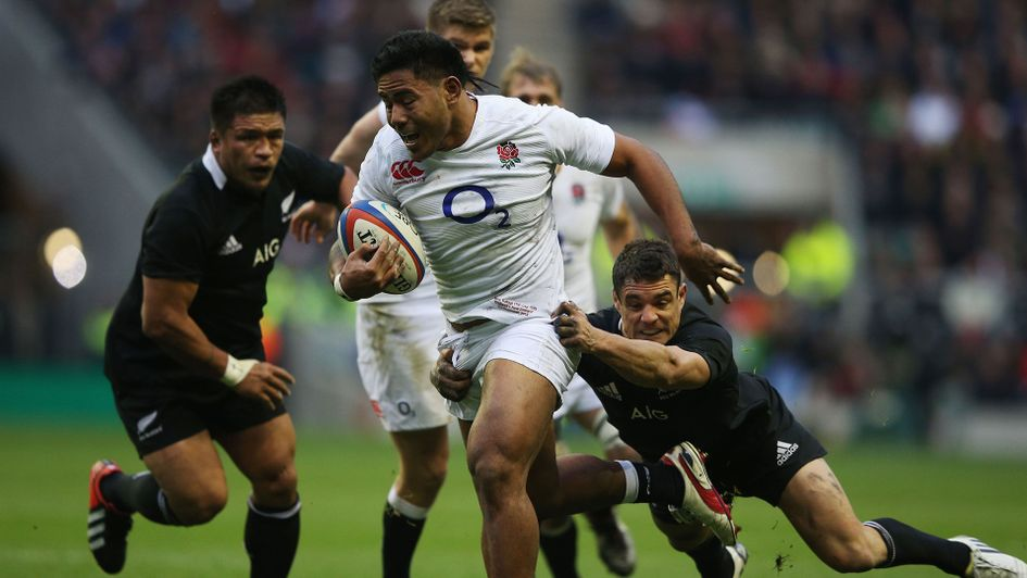 Manu Tuilagi in the process of scoring for England during their last win over New Zealand back in 2012