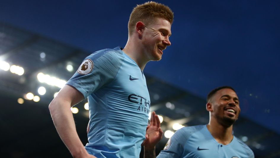 Kevin De Bruyne: The Belgian celebrates his early goal for Man City against Cardiff