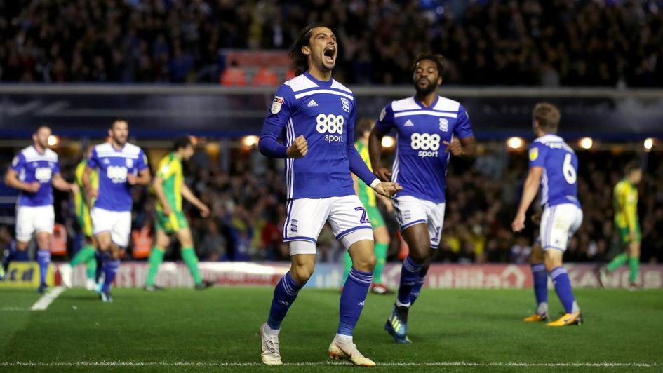 Birmingham City's Jota (centre) celebrates his goal against West Brom