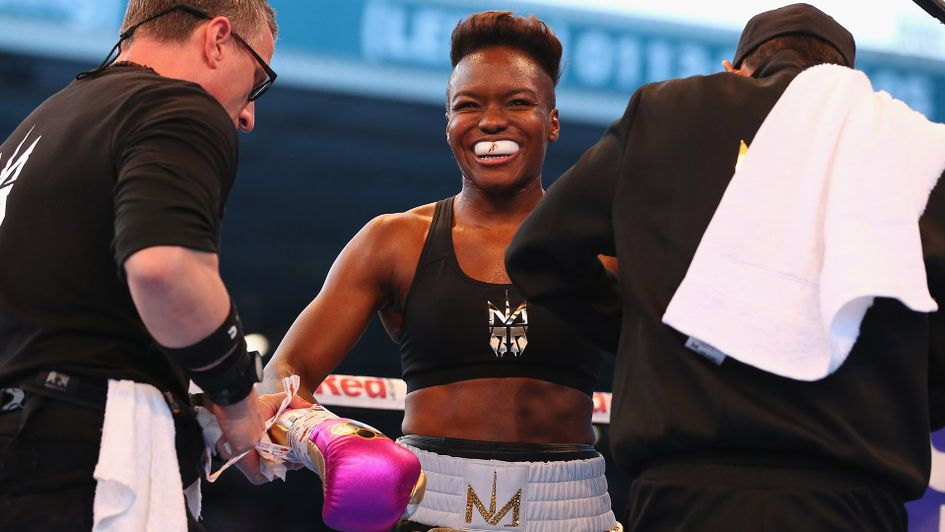 Nicola Adams looks on after stopping Soledad Del Valle Frais at Elland Road