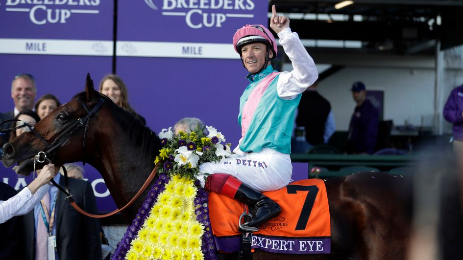 Frankie Dettori celebrates on Expert Eye after the Breeders' Cup Mile